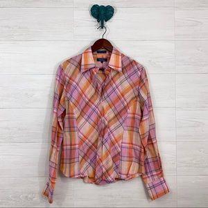 Faconnable Linen Blend Pink Orange Plaid Blouse